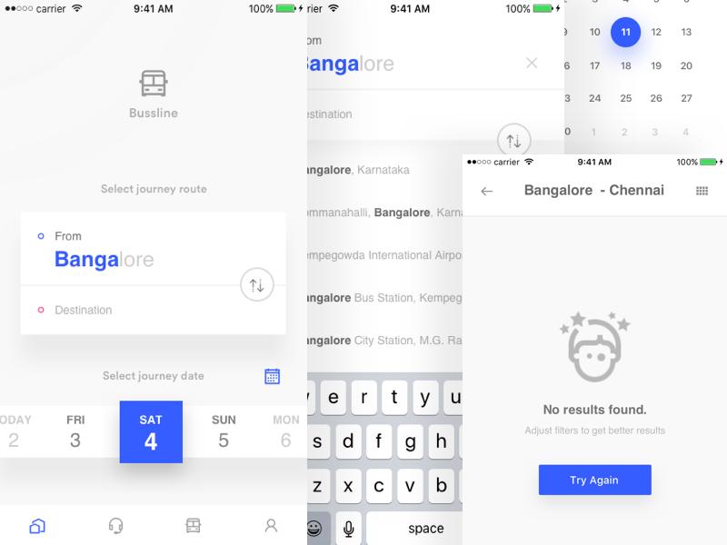 Bus ticket booking app filters calendar minimal app design ticket booking app app empty state search ticket booking book ticket ios