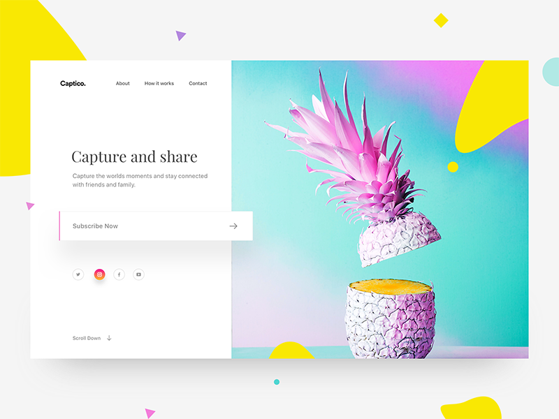 Captico landing page social photo capture fruits colors ui mobile subscribe split screen website webdesign landing page