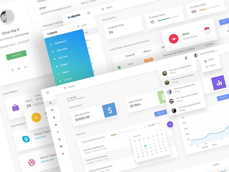 UISuMo - Admin Dashboard dashboard crm admin wip dribbble invoice calendar contacts task material profile icon