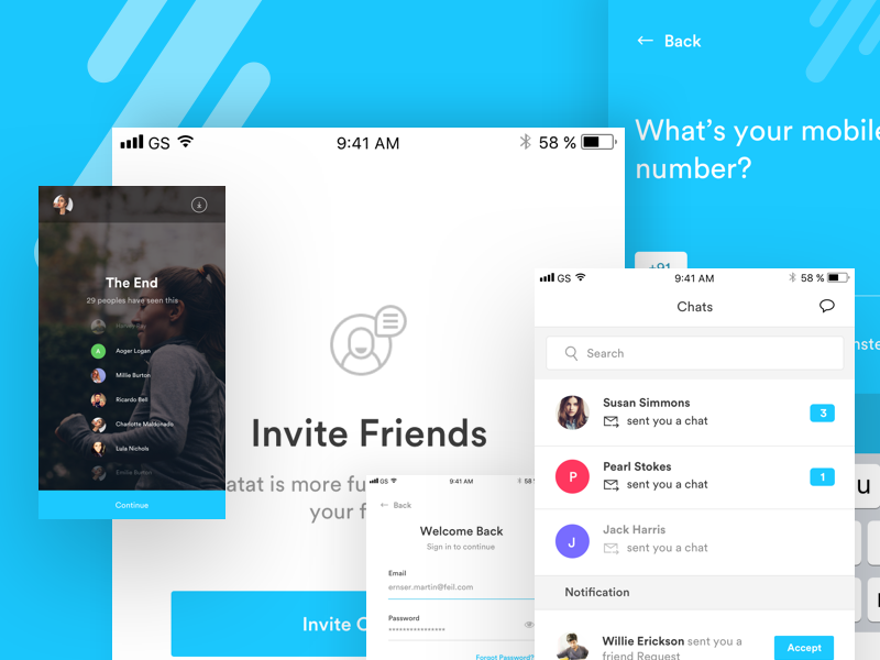 Live streaming with chat app chatting app behance invite post video mockup presentation login chat messgae social photo