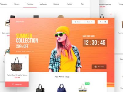 Shopping landing page video timer search cart wishlist add to cart website landing page fashion ecommerce