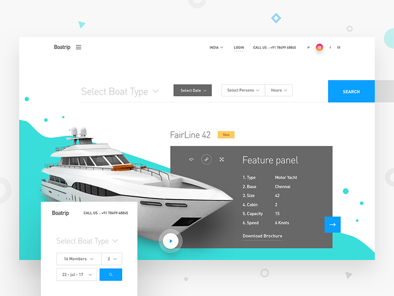 Boatrip landing page ui webdesign mockup presentation searching booking minimal landing page website filters boat