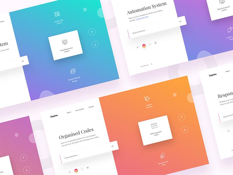 Captico - Gradients web design split webdesign ui mockup presentation gradients minimal landing page website icons sliders