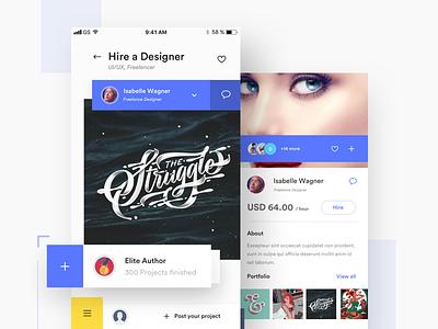 Hire a Designer mockup shapes portfolio interaction product designer uiux designer payment recruit hiring freelancers ios app