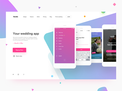 Wedding app onboarding profile admin login landing page notification chat branding upload events wedding ios