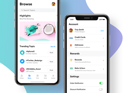 iPhone X - News & Account points refer and earn menu profile setting account news search native ios mockup iphone x ios