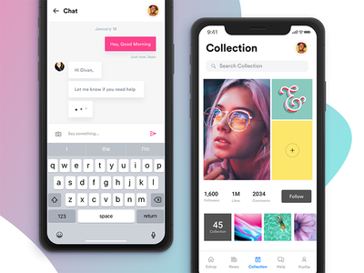iPhone X - Chat & Collection points refer and earn menu wishlist collection chat news search native ios mockup iphone x ios