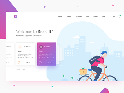 Hair salon landing page cycling box appointment gradient search cart menu product delivery cycle landing page hair salon