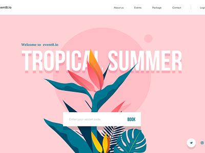 Event website header colors menu login booking landing page summer retro illustration leaves tropical header event
