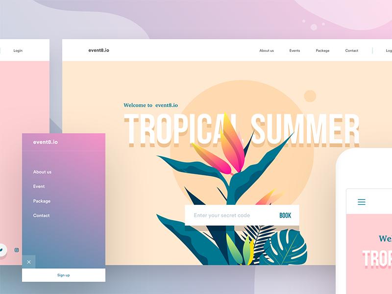 Event website headers v2 colors menu login booking landing page summer retro illustration leaves tropical header event