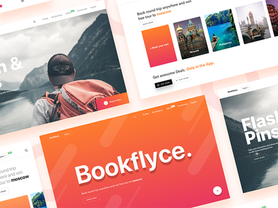 Bookflyce - web slides hotel dashboard travel website app flight ui design webdesign booking flight booking gradient landing page