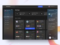 Meeting Dashboard - Dark version payment schedule user management settings account meeting plans calendar task chart profile dashboard