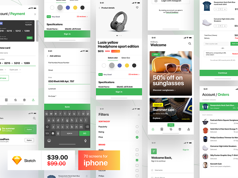 e-commerce shopping app UI Kit - 70 screens - Download ui kit app ecommerce ui kit ecommerce ios app ecommerce app iphonex