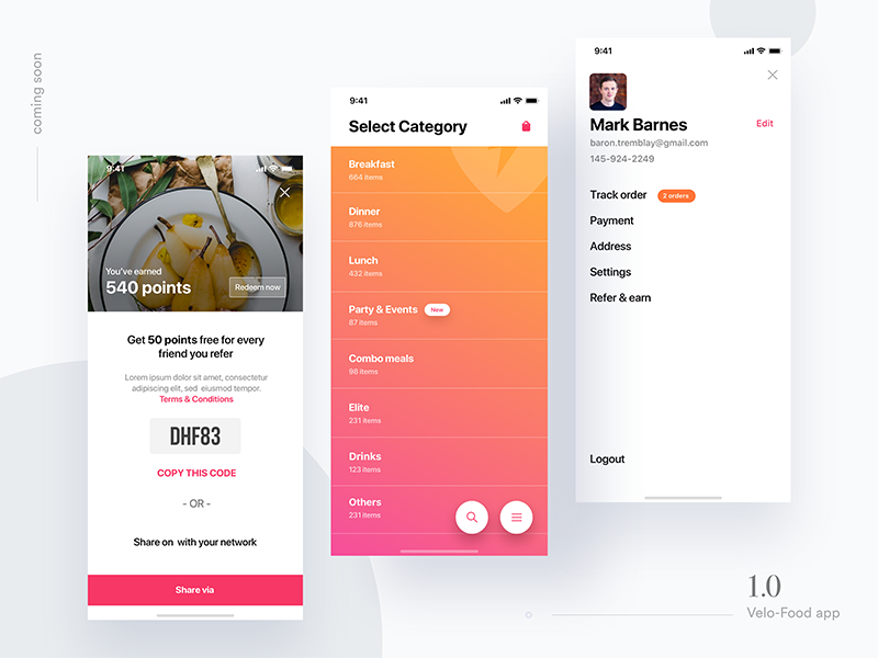 Velo Food Ui Kit - coming soon delivery food app groceries ios app ui kit ui bundle onboarding checkout product tracking empty cart credit card profile