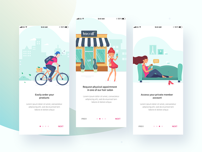 Onboarding hair salon landing page cycle delivery product menu salon onboarding gradient appointment box cycling