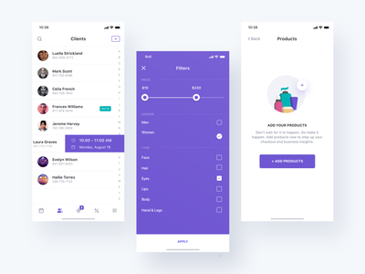 Client, Filter, Empty screen payment ux icon empty page clients filter onboarding minimal profile cards typography ios illustration webdesign search animation website ui app