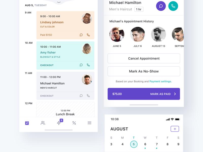 Hair salon app cards dashboard website profile landing page