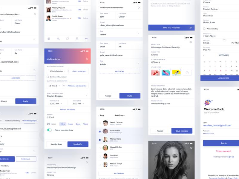 Mobile app freelancer messenger view message upload portfolio create project schedule calendar invite freelance chat search profile dashboard