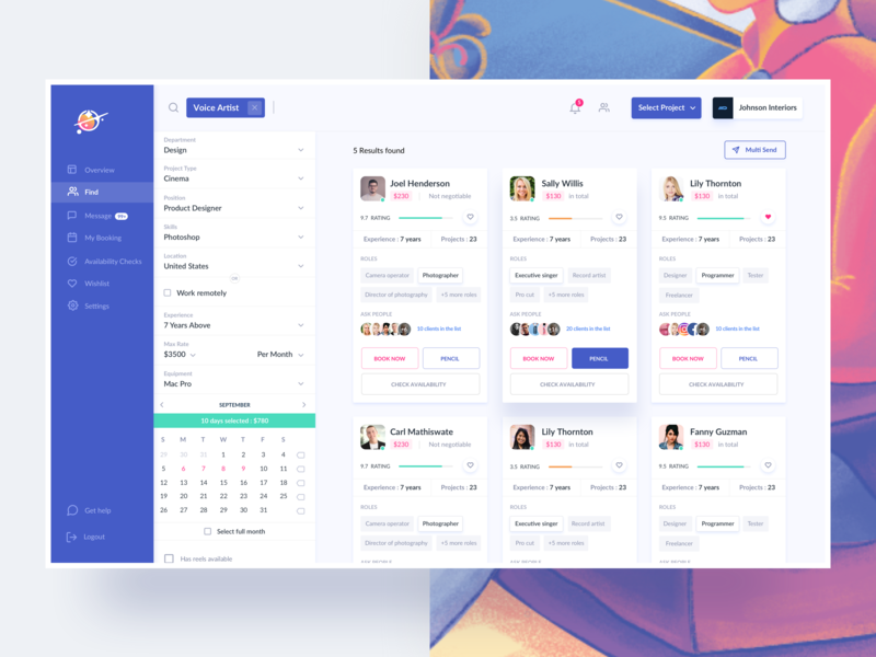 Product for Freelancers cms find project invite ui freelancers filters menu typography cards illustration calendar profile webdesign search dashboard website landing page