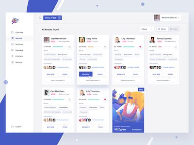 Hire Freelancers website freelance design filters mockup menu search dashboard pro illustration job posting hire freelancers