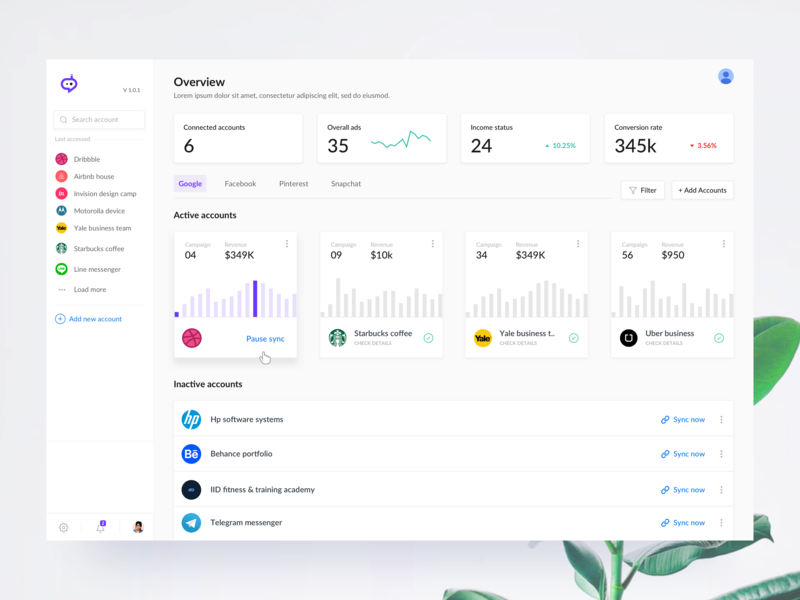 Ad manager adsets campaign manager ad campaign advertising freelance income minimal analytics dashboard hover charts graphs analytics social media ad manager landing page