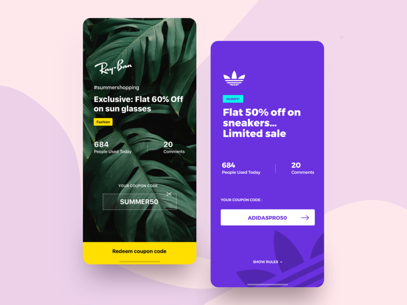 Custom coupon page for PRO users rayban adidas template app coupons redeem coupon code offering brand customized offer coupon