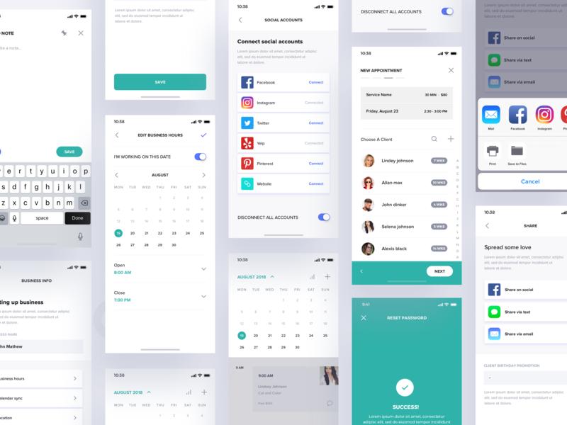 Hair salon app checkout notes editor clients social accounts calendar mobile app design mobile app product design iphone booking app booking appointment salon app