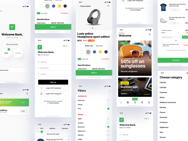 e-commerce mobile UI KIT - Sale ecommerce shop ecommerce business orders login search checkout addtocart products dashboard mobile app sale download ecommerce app ui kit ecommerce