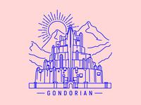 Minas Tirith tshirt design illustration gondor minas tirith