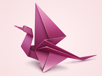 Pink Origami Bird illustration icon pink bird origami paper