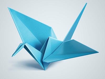 Blue origami bird