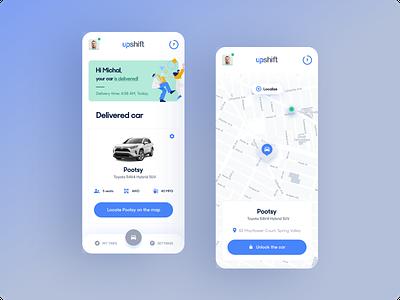 Upshift - Mobile app map userinterface ui design productdesign tonik carsharing cars car design ux ui app