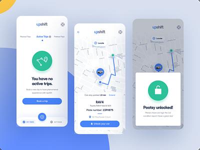 Upshift - Mobile app unlock user interface design map dashboard carsharing car tonik ux ui app