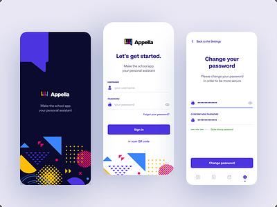 Appella - Music School App sign in login mobile app mobile user interface dashboard ux ui app