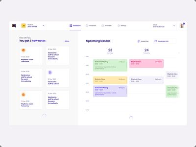 Appella - Music School App Desktop school app music app calendar music user interface dashboard ui ux app