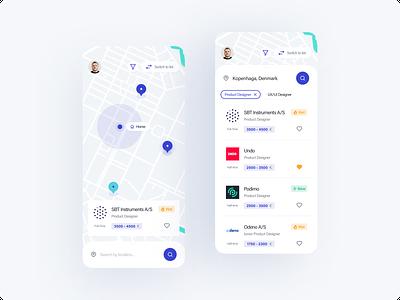 The Hub - concept app map job listing job app job board design dashboard ux ui app