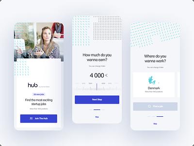 The Hub - concept app 2 mobile app mobile form forms onboarding job board job offer design dashboard ux ui app