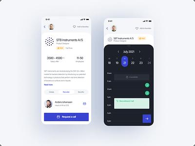 The Hub - concept app 3 onboarding job offer job job board call calendar dashboard ux ui app