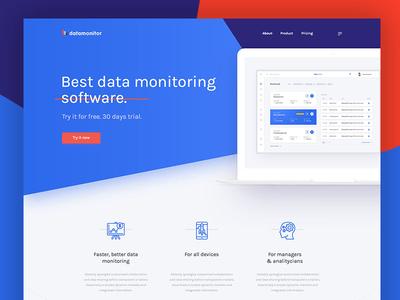 Datamonitor - landing page landing page user interface webdesign web ux ui software saas data chart app dashboard