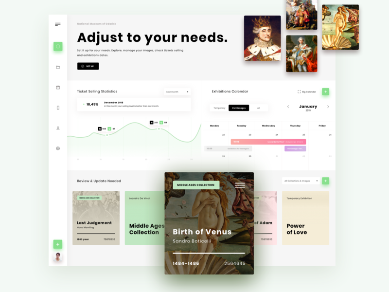 Museum Dashboard tickets exhibition museum art museum of art ux ui movade app dashboard