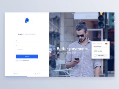 Paypal Redesign Concept - Login page ux design ux ui  ux design ui pay movade finance app finance dashboard credit card sign in login bank account bank card bank app app