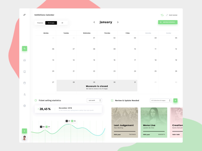 Museum Dashboard Animation museum of art exhibition calendar animation app animation app  design museum movade dashboard app ux ui
