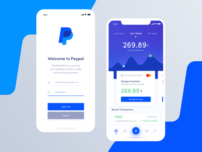 Paypal Redesign Concept - Mobile michanczyk paypal pay movade ux ui mobile dashboard credit card bank card finance finance app bank app bank account app app  design