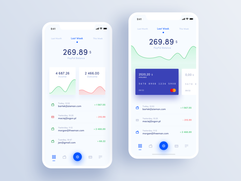 Paypal Redesign Concept - Mobile Dashboards design app design checkout payment bank account bank app finance app finance credit card movade mobile dashboard app ux ui paypal