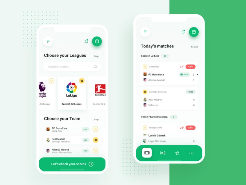 Check Scores App user experience user interface application mobile design mobile app design scores soccer football ux dashboard ui app