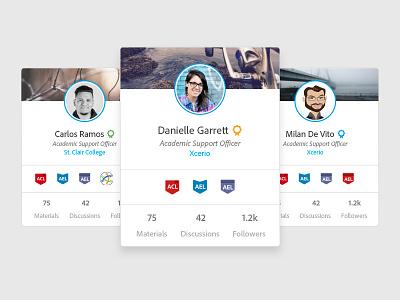 Profile mini cards social platform ux design profile ui profile user cards ui