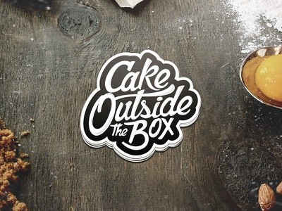 Lettering Sticker / Cake Outside the Box custom type typography lettering design bakery cake brand identity stickermule stickers logo
