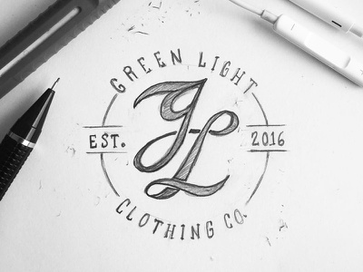 GL Monogram typography sketch drawing apparel clothing logo calligraphy lettering handtype type monogram