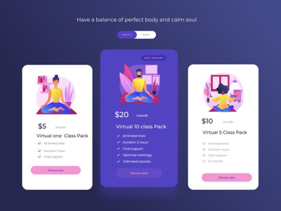 Pricing page illustration yoga website dailyuichallenge dailyui030 pricing page