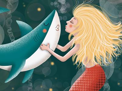 Mermaid kisses Shark ©WACHtraum Illustration by Danja K kisses kiss mermaid underwater ocean life ocean shark mermaids drawing female character editorial design editorial characterdesign character design editorial art editorial illustration